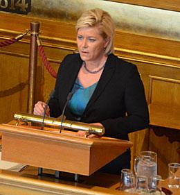 Siv Jensen legger frem statsbudsjettet for 2014/15 i Stortinget 8. oktober(Foto:Stortinget)