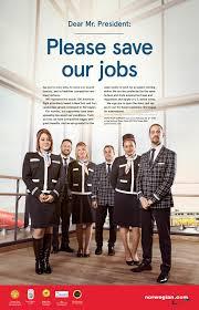 Norwegian-ansatte i USA har skrvet brev til Barrack Obama, der de ber for sine jobber  på amerikanske flyplassedr( Foto: NB-no-Facebook/Cision)