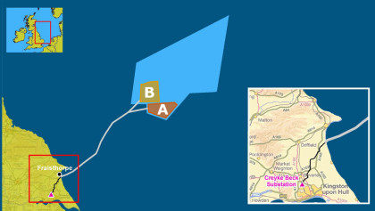 The map is showing ogger Bank offshore Wind Development  Creyke Beck( Photo:Statkraft)