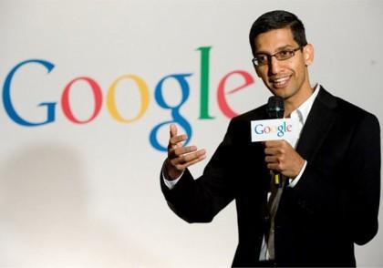 Googles CEO Sundar Pichai er fornøyd med resultat og akjsekurs (Foto: Google)