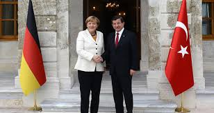 Angela Merkel visiting Turkey earlier this year to make thez refugee agreement with Erdogan8Photo: Associated Press)