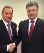 Statsminister Stefan Løfven hadde bilaterale samtaler med president Pjotr Petrosjenko(Foto: Regjeringeskansliet)