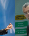 Rajeev Suri (Nokia) og Michel Combes (A-L) har blitt enige om kjøp. (Ill: Nordic News)