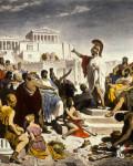 Perikles taler til eliten i Aten. Politiker ca. 450 f.kr.,  malt i 1853 av Philipp von Foltz
