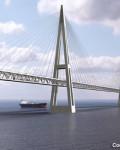 Komponert illustrasjon av bro over Fehmarn Belt. Ill: Fehmarn Belt Link
