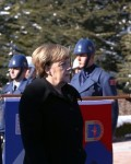 German Chancellor Angela Merkel, right, and Turkish Prime Minister Ahmet Davutoglu inspect a military honour guard during a welcoming ceremony in Ankara, Turkey, Monday, Feb. 8, 2016.