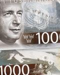 En svensk tusenlapp med bilde av tidligere generalsekretær i FN, Dag Hammarskjøld , gjenspeiler en sterk svensk økonomi( Foto: Riksbanken)