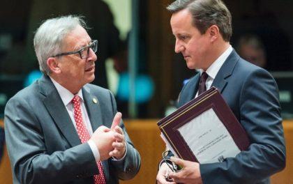 Jean Claude Juncker drøfter EU-spørsmål med statsminister David Cameron før dagens folkeavsstemning( Foto:Ap)