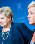 Statsminister Erna Solberg og finansminister Siv jensen vil gi større myndighet til EU i finanssaker( Foto:Regjeringen)