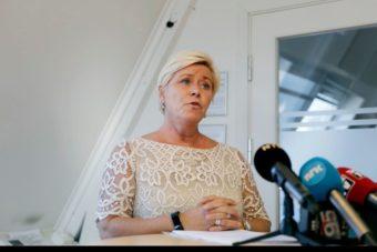 Leder i Fremskrittspartiet Siv Jensen sier det var klokt av Per Sadberg å trekk seg(Foto: Javier Auric)