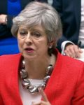 Theresa May taler til Underhuset. (Foto: Fra BBC video)