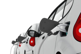 3D illustration of electric cars