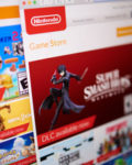 Prague - May, 22, 2019: Closeup on online Nintendo game store photographed from the site screen.